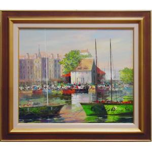 フランスノルマンディー地方の港町。  セーヌ左岸の河口、旧港の風景です。  在庫限り。 同じ構図の再...