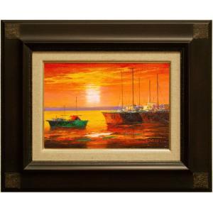 生鮮マグロの水揚げ日本一を誇る勝浦漁港。 出港前の日の出風景を描いた美しい一枚です。  画像はお届け...