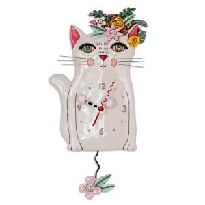 アレンデザイン 掛け時計 Pretty Kitty Allen Clock 振り子時計 猫 白猫 フラワー アメリカ  USA|gallerycuore