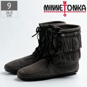 ミネトンカ MINNETONKA ブーツ グレー フリンジ スエード 621T|gallerymc