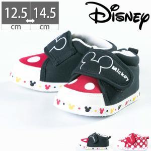 DS0150 ディズニー ミッキー ミニー ベビー シューズ スニーカー 履かせやすい 子供 マジックテープ ベルクロ|gallerymc