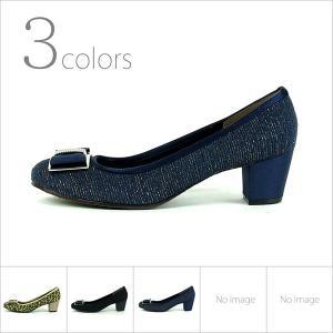パンプス 走れるパンプス 痛くない 歩きやすい 日本製 靴 レディース リボン チャンキーヒール バックル 通勤 パーティ|gallerymc