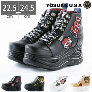 ヨースケ YOSUKE 厚底 スニーカー ブーツ ショートブーツ ワッペン レースアップブーツ レディース|gallerymc
