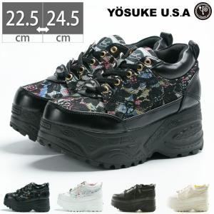 ヨースケ YOSUKE 2810365 厚底スニーカー レースアップ 厚底 レース ハイソール 花柄|gallerymc