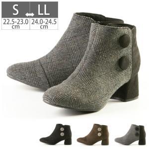 レディース ブーツ ショートブーツ 5.5cmヒール ボタン ブーティー 痛くない 歩きやすい ローヒール スエード シンプル 合わせやすい|gallerymc