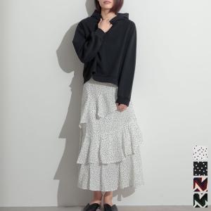 ロングスカート フレアスカート フリル マキシ丈 水玉 マル...