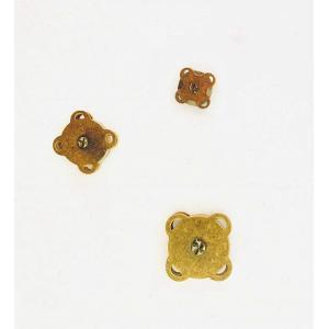 1751【セット】ハンドメイド用 マグネットボタン18mm(2個入り)、15mm(3個入り)、10mm(3個入り) 縫い付けタイプ アンティークゴールド|gamagutinoyumemall