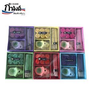 【送料無料】お香 タイのお香 象のお香立て 6個セット ギフトセット タイ土産 コーンタイプ スティックタイプ キャンドル|gamlangdii-store
