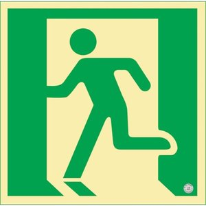 緑十字 高輝度蓄光避難誘導ステッカー標識 非常口 150×150mm 消防認定品 360860 1枚|ganbariya-shop