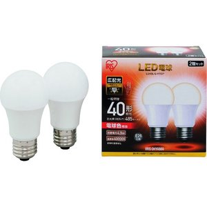 IRIS LED電球2個セット E26広配光タイプ 40形相当 電球色 LDA5L-G-4T52P 1箱|ganbariya-shop