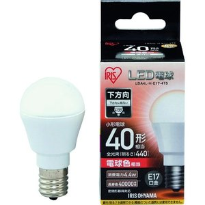 IRIS LED電球 E17直下 40形相当 電球色 440lm LDA4L-H-E17-4T5 1個|ganbariya-shop