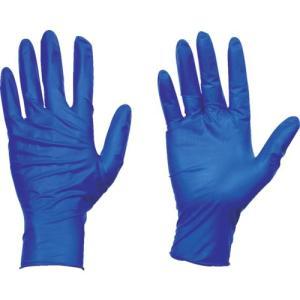 トラスコ中山(株) TRUSCO 使い捨て天然ゴム手袋TGセーフ 0.12 粉無青L 100枚 TGNL12BL 1箱|ganbariya-shop