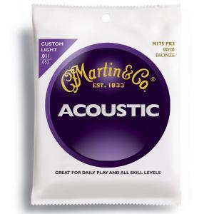 【送料無料】MARTIN(マーチン弦) 「M175PK3×1パック」(3セット入り)カスタムライト・ゲージ  Martin 80/20 Bronze Custom Light Acoustic Guitar/M-175Pack3