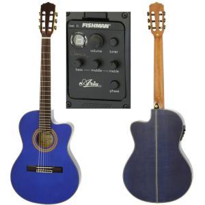 【新品アウトレット】Aria/アリア クラシックギター A-48CE SBL(See-through Blue)★10点セット / 薄胴エレガット|gandgmusichotline