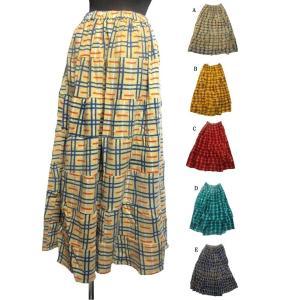 マキシ丈エスニックスカート 起毛コットンエスニック衣料エスニックアジアンファッション