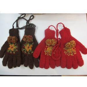 ボンボンエスニック手袋ヒモ付きエスニック衣料雑貨