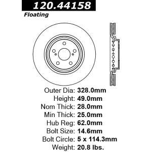 Centric C-TEK ブレーキ ローター,フロント 121.44158|garage-daiban