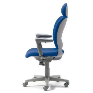PLUS 腰痛対策の事務椅子 パソコンチェア アジャスト肘付 エクストラハイバック ライトブルー 納期2W KD-Z20 SEL 697022|garage-murabi