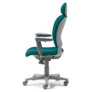 PLUS 腰痛対策の事務椅子 パソコンチェア アジャスト肘付 エクストラハイバック シーグリーン 納期2W KD-Z20 SEL|garage-murabi
