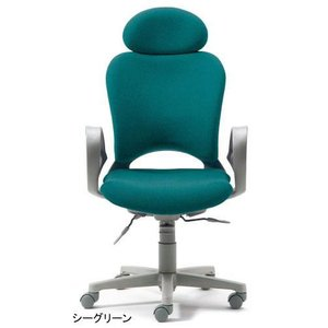 PLUS 腰痛対策の事務椅子 パソコンチェア ループ肘付 エクストラハイバック シ−グリーン 納期2W KB-Z10 SEL|garage-murabi