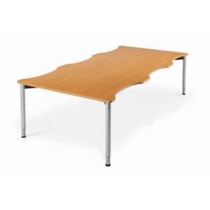 昇降テーブル ミーティング・ダイニング 談話テーブル 波型 W2400×D1200 HLT-2412 送料無料