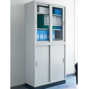 只今 組立・設置サービス付 ジョインテックス 組立式書庫 スチール引違/アクリル引違保管庫/ベース付 セット JH-8840|garage-murabi