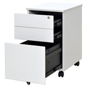 NEW ワークデスク 3段ワゴン2 ホワイト LWCA2-3WHAL  W420xD500xH650|garage-murabi