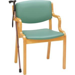 介護 福祉用 椅子木製 PD-5003S ライトグリーン 杖掛機能付 PLUS|garage-murabi