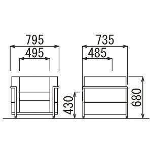 NEW 事務所 応接セット ゴーン 4点セット ビニールレザー ホワイト AICO RE-4691 RE-4693 CT-600 振込決済お値引対象セット ルコルビジェ|garage-murabi|03