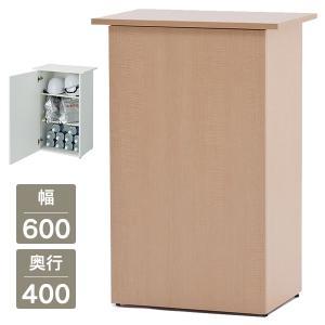 【事業所様お届け 限定商品】 おしゃれ 受付カウンターテーブル 無人カウンター 収納も可能 [ホワイト/ナチュラル] SHRC-600WH/SHRC-600NA 電話台|garage-murabi