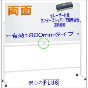 イレーザー付ホワイトボード 両面 キャスター付き 1800mm WB-1890B_E 脚付  PLUS M1968-664|garage-murabi