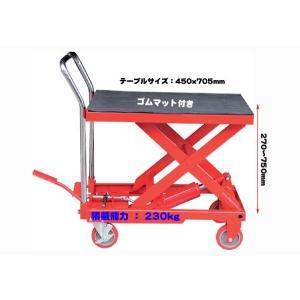 ◆赤◆油圧式リフトテーブル リフター台車に 耐荷重230kg  F006 garagecom