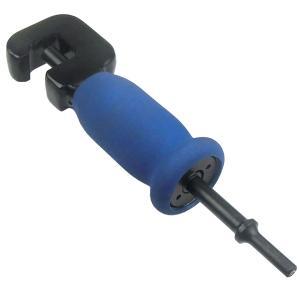エアハンマーにセットして使用する。  振動ピンは、エアハンマーからのパルスをナットまたはボルトに振動...