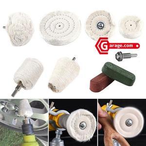 電動ドリルやインパクトレンチなどで使用可能 アルミホイール磨きなど 金属研磨 綿バフ9点セット YZ...