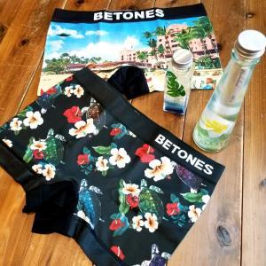 BETONES / ビトーンズ BORABORA メンズ ボクサーパンツ アンダーウェア フリーサイズ ブラック ホヌ ハワイ ボタニカル|garakuta-ga
