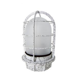 マリンランプ 船舶型照明 カラーデッキライト IS-50MW-100V (御影石調・フロストガラス)|garden-fontana