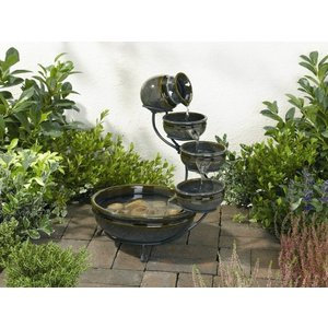 水音が楽しい小滝 ソーラーカスケード ファウンテン SS-23922  (グレイ)|garden-fontana