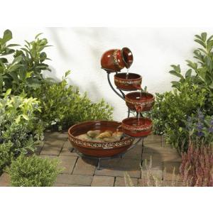 水音が楽しい小滝 ソーラーカスケード ファウンテン SS-23951  (レッド)|garden-fontana