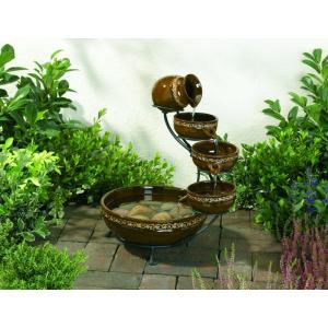水音が楽しい小滝 ソーラーカスケード ファウンテン SS-23961 (ブラウン)|garden-fontana