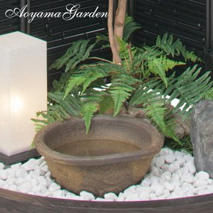 水鉢 ビオトープ/水鉢荒土 WK-19S/和風/和風/メダカ/スイレン鉢/直送・代引不可|garden