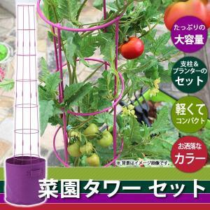ポイント最大10倍/家庭菜園 ガーデニング/ 菜園タワー セット パープル FL-06P/プランター/支柱/フェルト/簡単/ベランダ/野菜/|garden