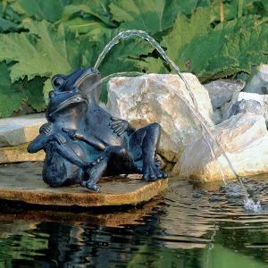 ファウンテン 池/ウォーターデコ カップルフロッグ/IFC-02GF/噴水/庭池 garden