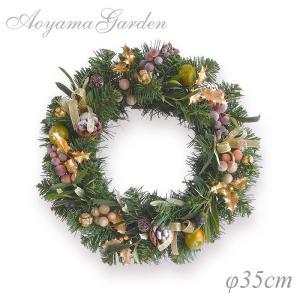 クリスマスリース 造花/グリーンリース(オリーブ)φ35cm...