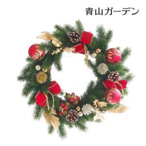 クリスマスリース 造花/モミリース(ゴールド&レッド)φ40|garden