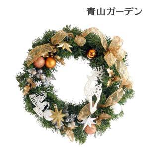 クリスマスリース 造花/グリーンリース(ゴールドホワイト)φ35|garden