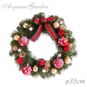 クリスマスリース 造花/グリーンリース(スノー&レッド)φ35cm|garden