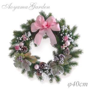 クリスマスリース 造花/モミリース(ピンクリボン)φ40cm|garden