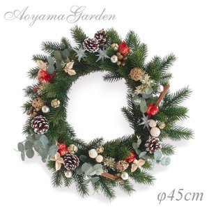 クリスマスリース 造花/モミリース(ユーカリ&シナモン)φ45cm|garden