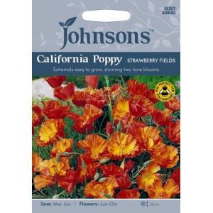 【輸入種子】Johnsons Seeds Californian Poppy Strawberry Fields カリフォルニアポピー(エスコルシア) ストロベリー・フィールズ ジョンソンズシード|gardeningivy