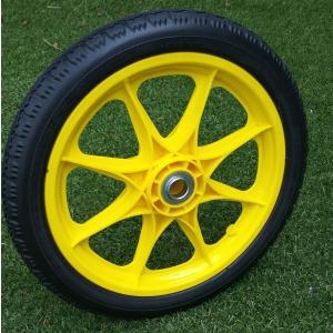 凸凹地面も作業しやすい14センチの大型 14インチ ソフトノーパンクタイヤ  軸直径:20mm 軸幅...